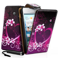 Love Heart Flip Leather Case Cover For Huawei Ascend Y300 + Film + Stylus