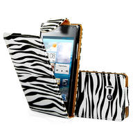 Zebra Flip Leather Case Cover For Huawei Ascend Y300 + Film