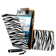 Zebra Flip Leather Case Cover For Huawei Ascend Y300+ Film + Stylus
