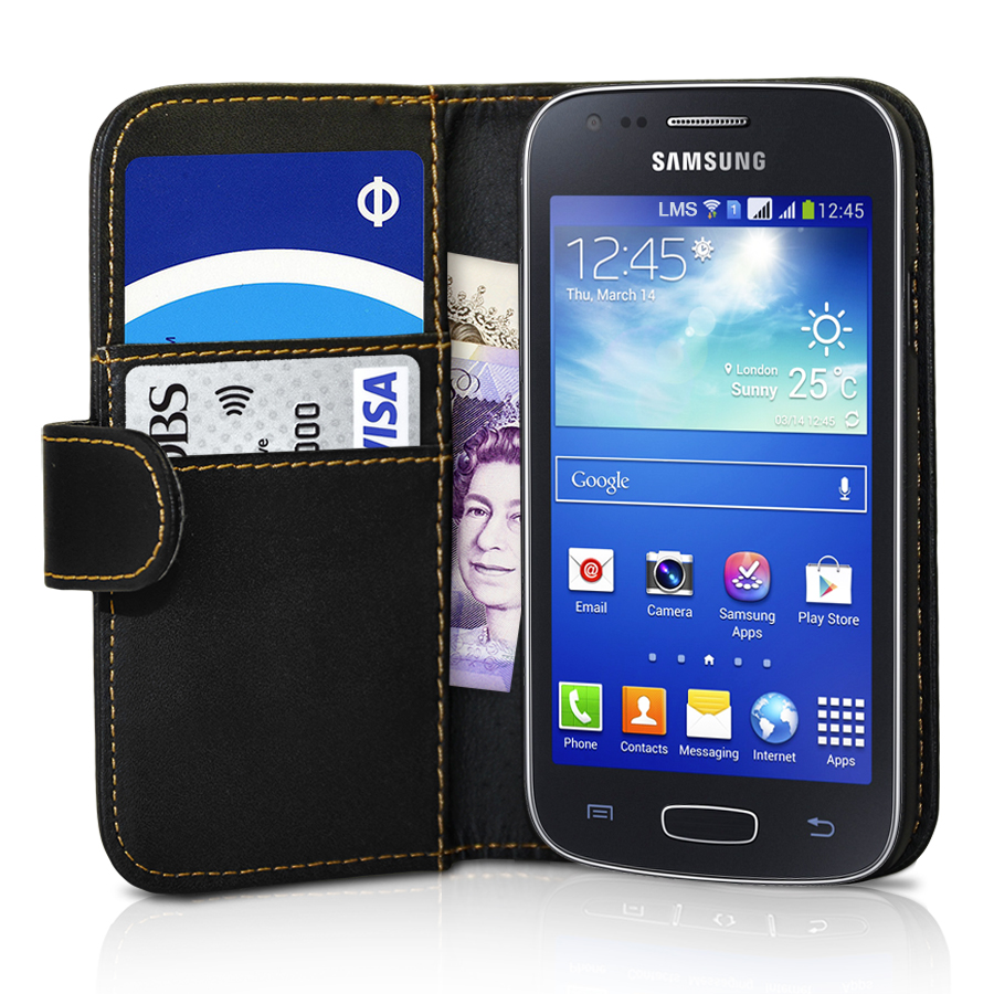 Black Wallet Leather Case Cover For Samsung Galaxy Ace 3