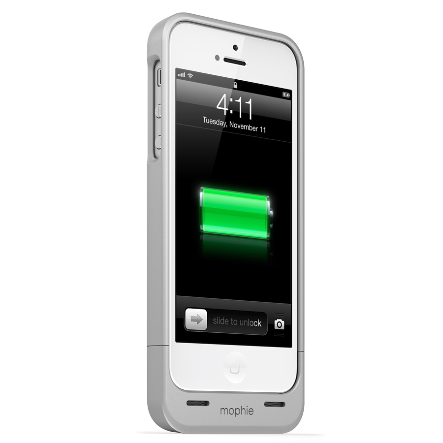 mophie juice pack helium 1500mah battery charging case for iphone 5 5s silver ebay. Black Bedroom Furniture Sets. Home Design Ideas