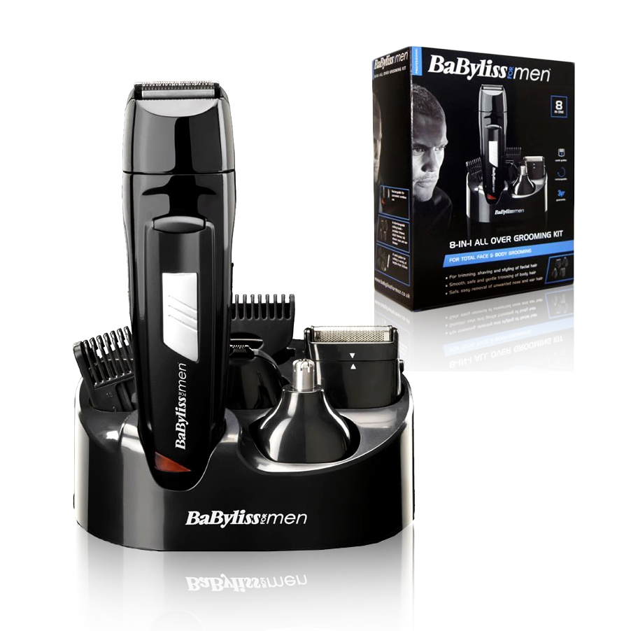 babyliss men 8 in 1 grooming kit cordless body hair clipper beard trimmer 7056cu ebay. Black Bedroom Furniture Sets. Home Design Ideas