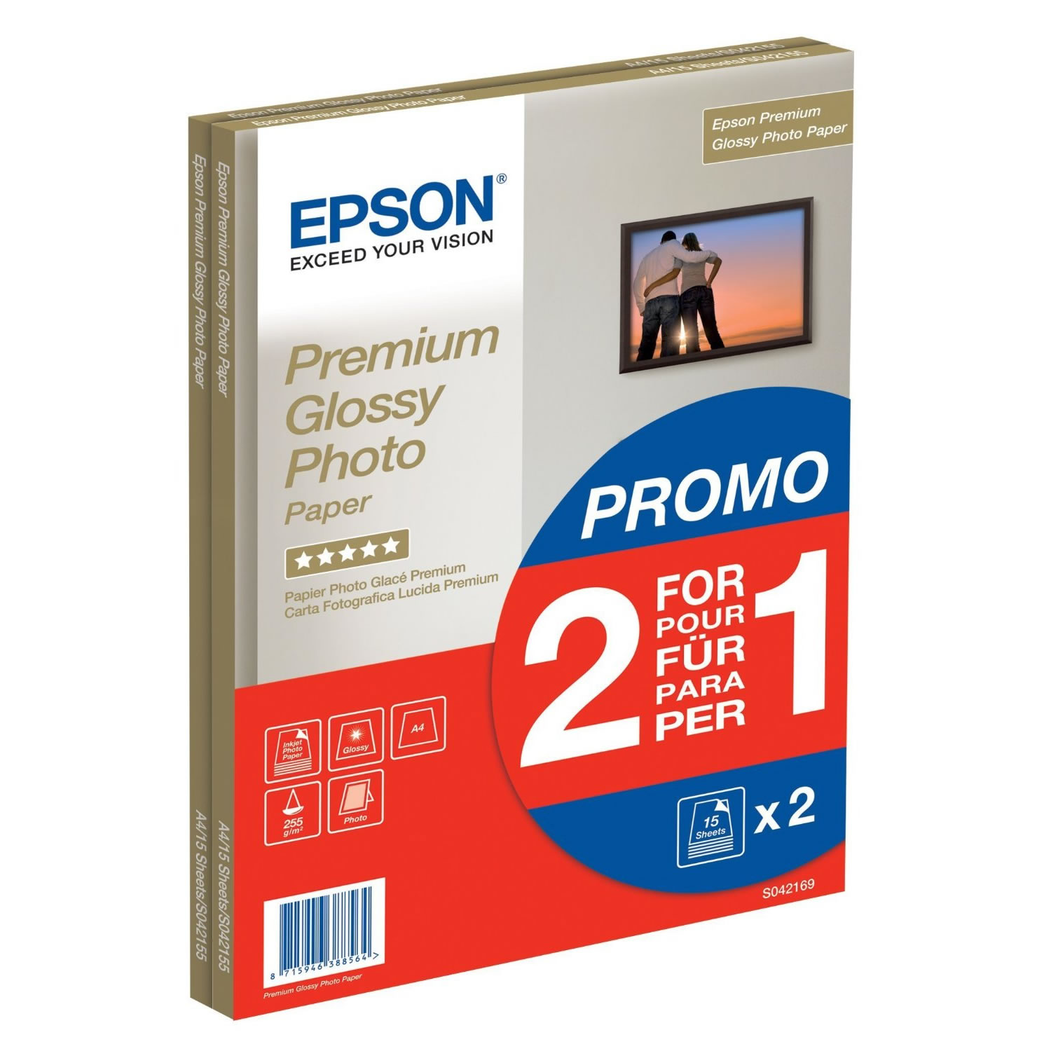 Epson Premium Glossy Photo Paper 255g A4 30 Sheets (2 x 15 Sheets)