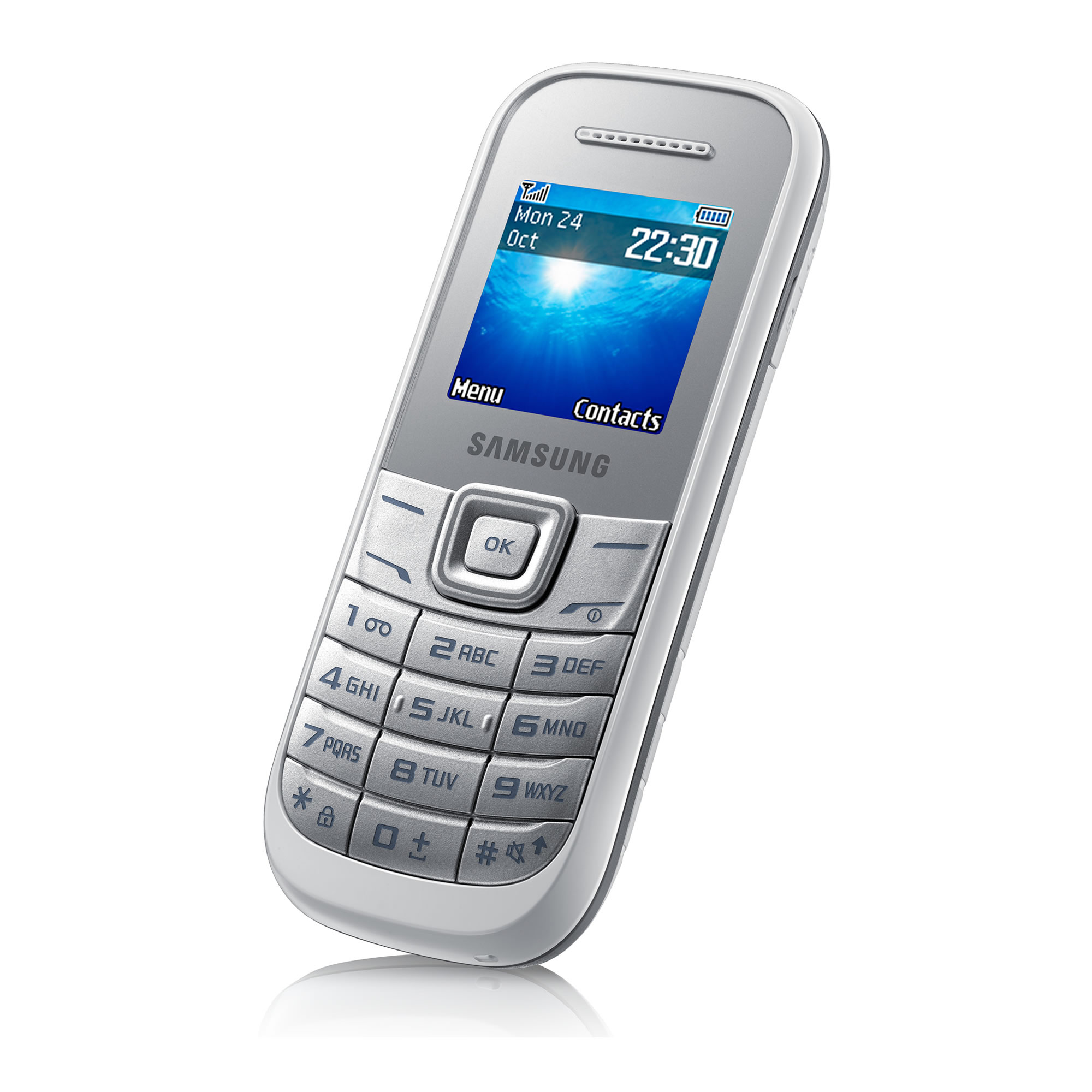 samsung e1200 basic simple mobile phone white sim free. Black Bedroom Furniture Sets. Home Design Ideas