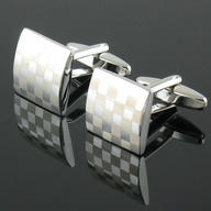 Mens Stainless Steel Business Shirt Silver Square Lattice Wedding Cufflinks NEW !CUFFLINKS-128