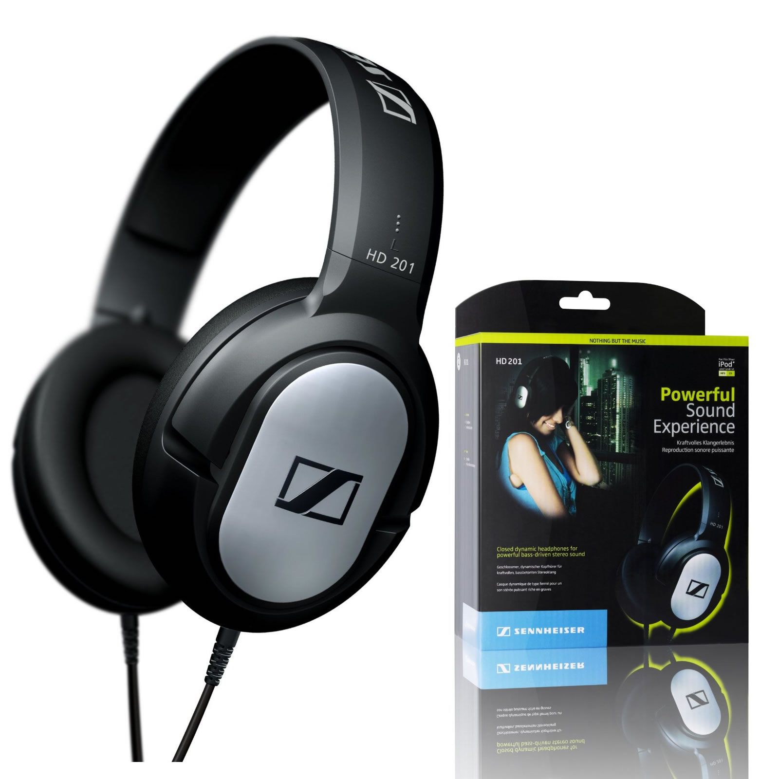 SENNHEISER HD201 DJ CLOSED STEREO DYNAMIC OVER EAR HEADPHONES MP3 IPOD IPHONE Enlarged Preview
