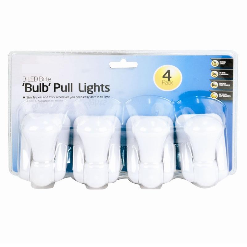 4 PCS 3 LED BULB BRIGHT BATTERY OPERATED PULL LIGHT LAMPS