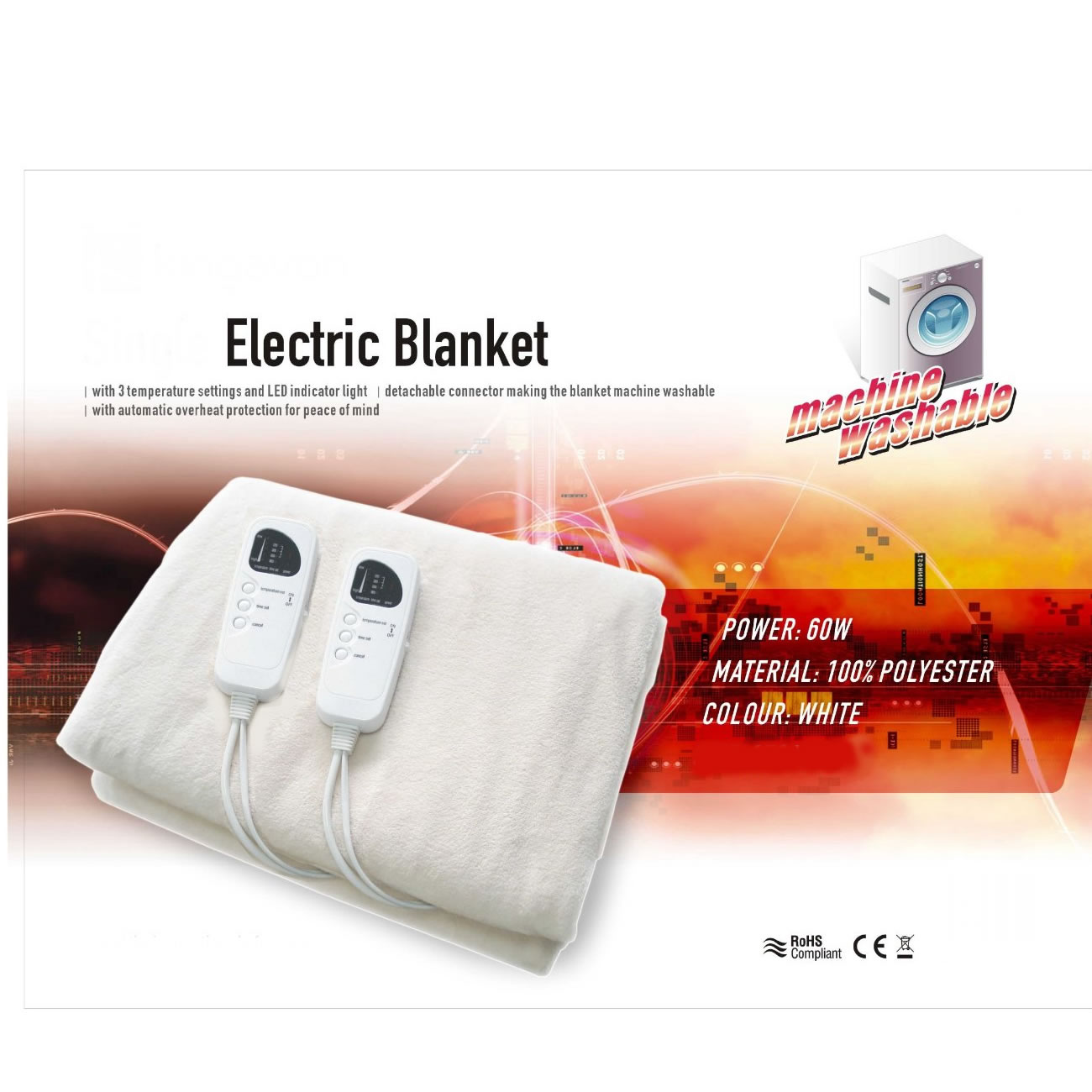 king size washable electric heated under blanket with 2. Black Bedroom Furniture Sets. Home Design Ideas