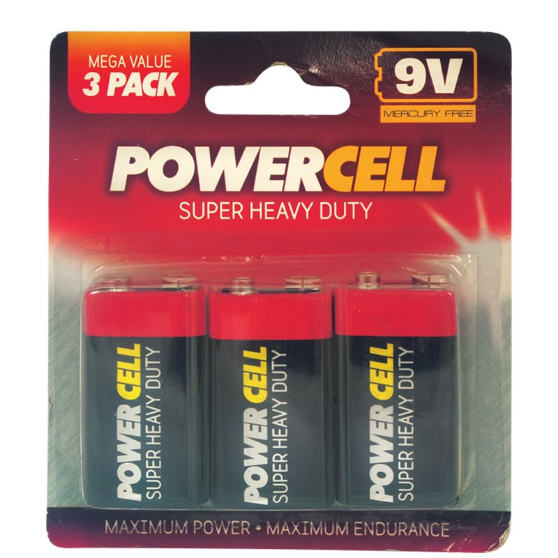 3 x powercell 9v super heavy duty batteries battery pp3 9. Black Bedroom Furniture Sets. Home Design Ideas