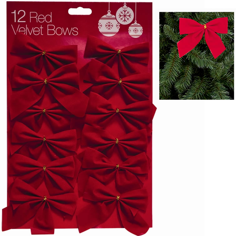 Christmas Decorations Red Bows : Pack cm red velvet bows christmas tree decoration