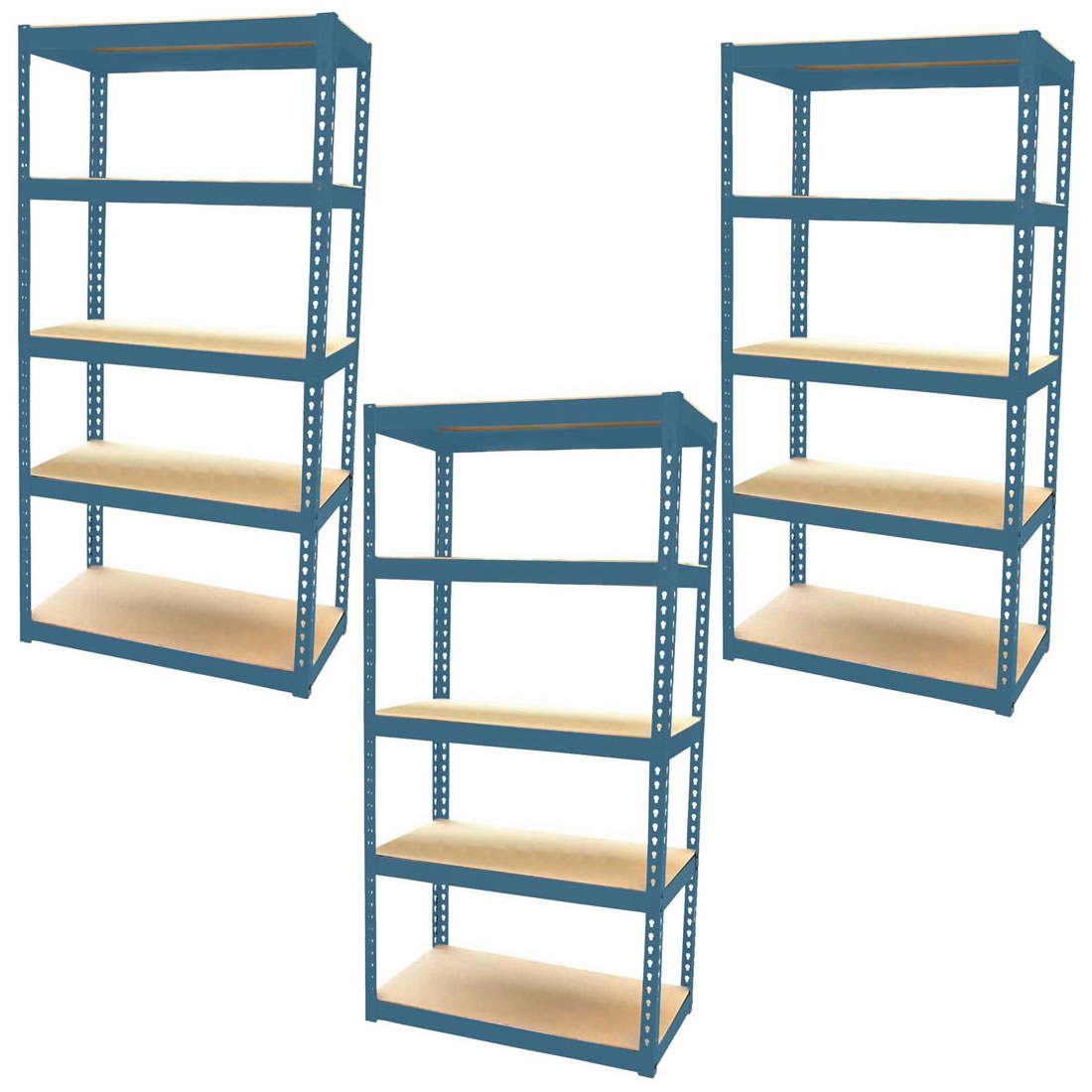3 bay shelving unit heavy duty 5 tier shelf steel racking. Black Bedroom Furniture Sets. Home Design Ideas
