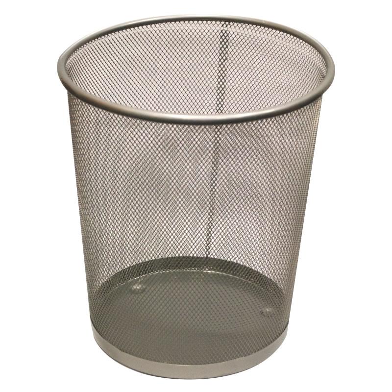 Silver Mesh Bin Basket Waste Paper Round Office Home
