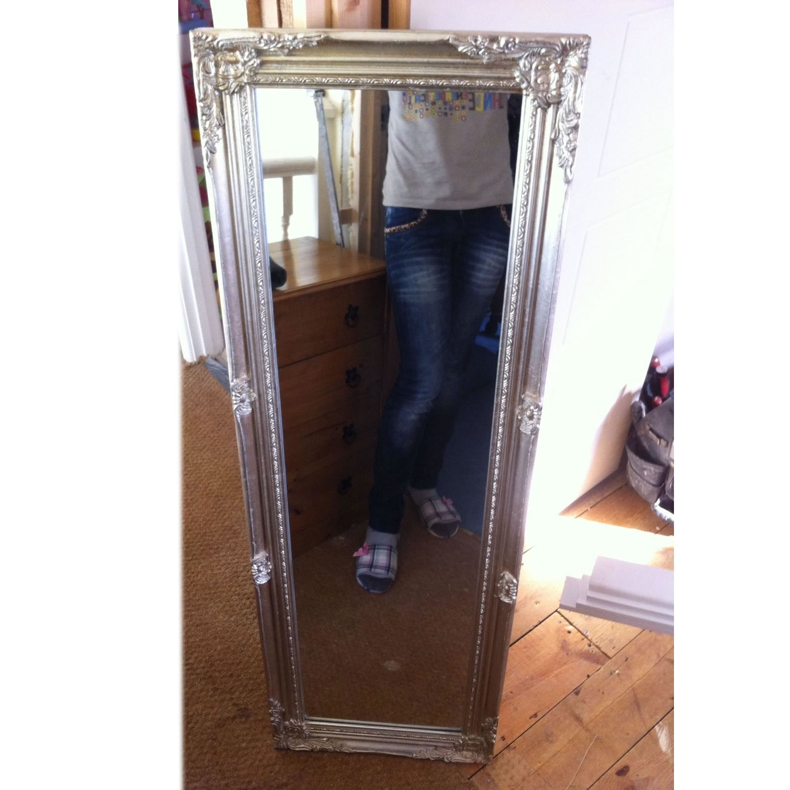 Large silver ornate tall long mirror chic vintage french for Silver long mirror