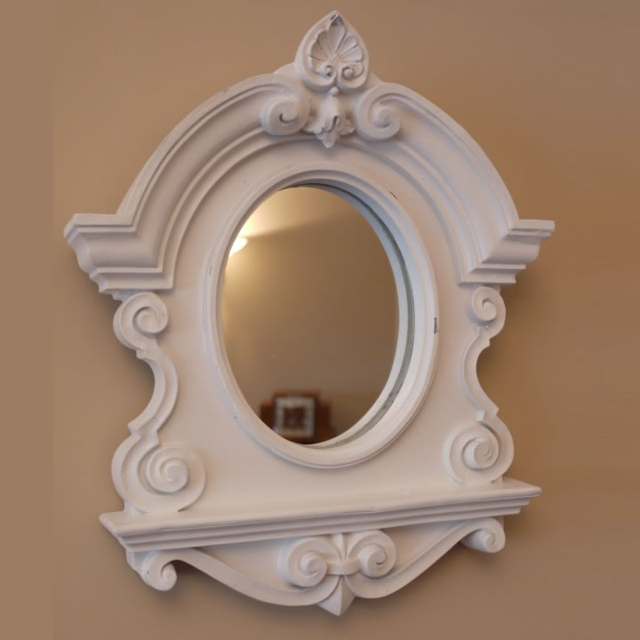 Ornate french baroque style oval wall mirror shabby chic for Baroque oval mirror