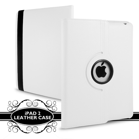 White Stand Wallet 360 Degree Rotating Leather Case For iPad 2 2nd Gen + Film Enlarged Preview