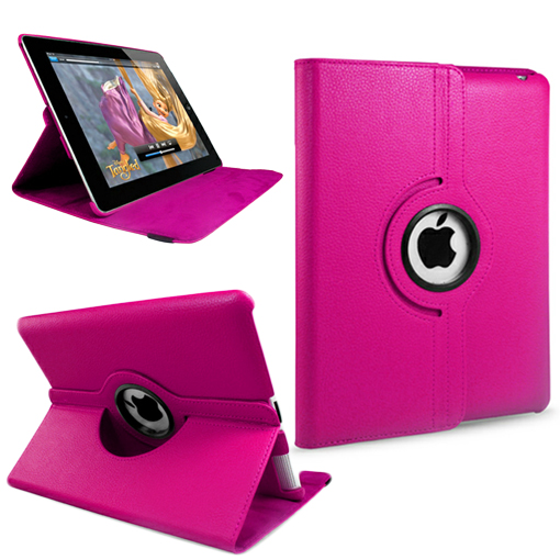 Hot Pink Stand Wallet 360 Degree Rotating Leather Case For iPad 2 3 4