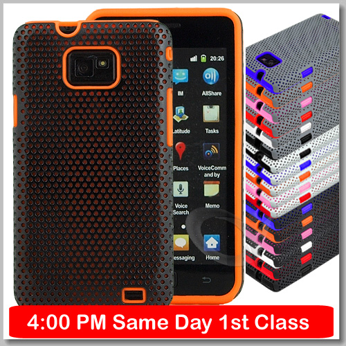 NEW MESH SILICONE CASE FITS SAMSUNG GALAXY S2 S 2 I9100 FREE SCREEN PROTECTOR