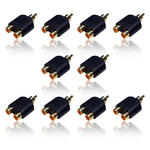 10 x GOLD 1 MALE to 2 FEMALE RCA PHONO AV AUDIO VIDEO Y SPLITTER CONVERTOR