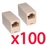 100 x RJ45 Couplers Gender Changer Join 2 Cat5e Network Patch Cables Bulk Pack