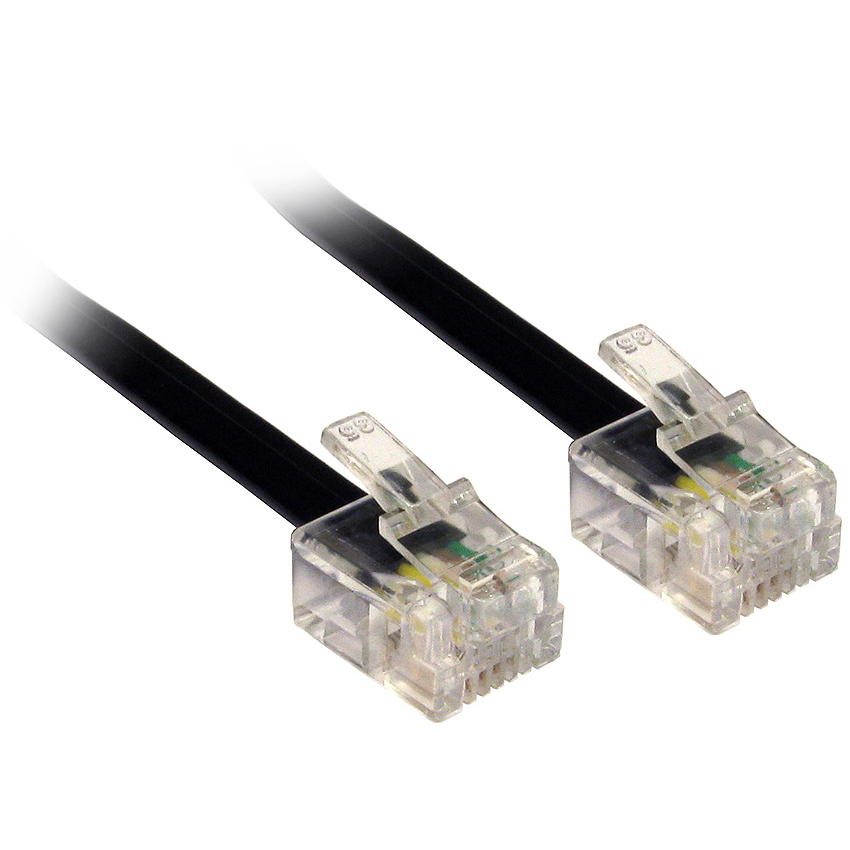 Black 30m 100 39 ft adsl rj11 m m cable lead wire for adsl broadband router modem - Cable adsl rj11 ...