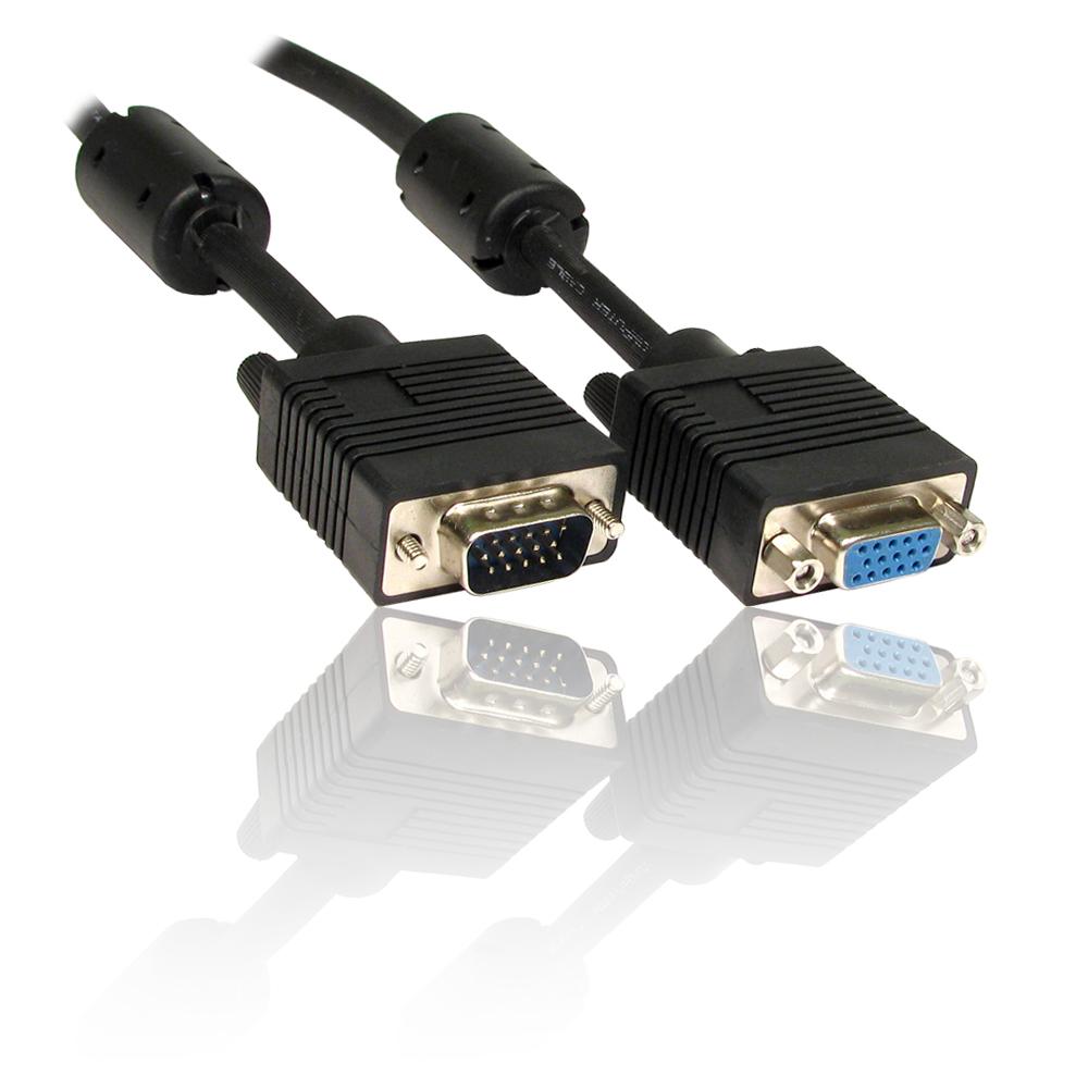 Black 1m Male To Female Pc Monitor Tft Svga Vga Extension Cable Lead Inc Ferrite