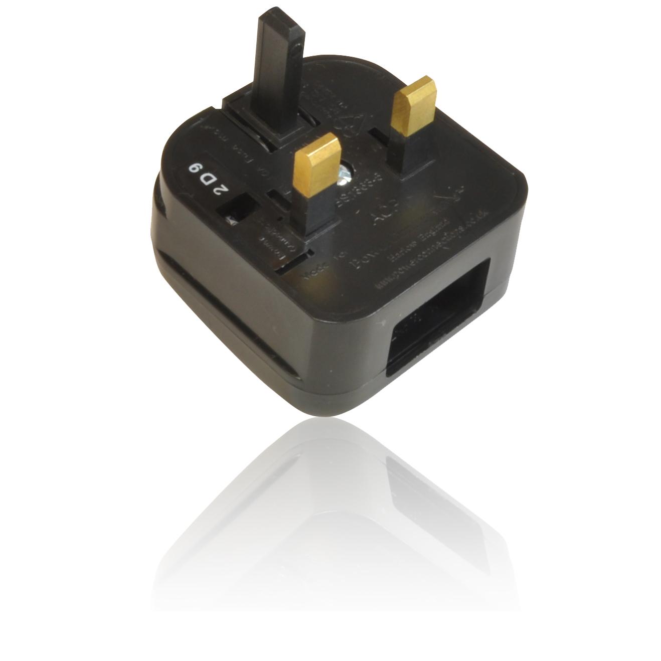 2 pin us usa american plug to 3 pin uk mains adapter. Black Bedroom Furniture Sets. Home Design Ideas