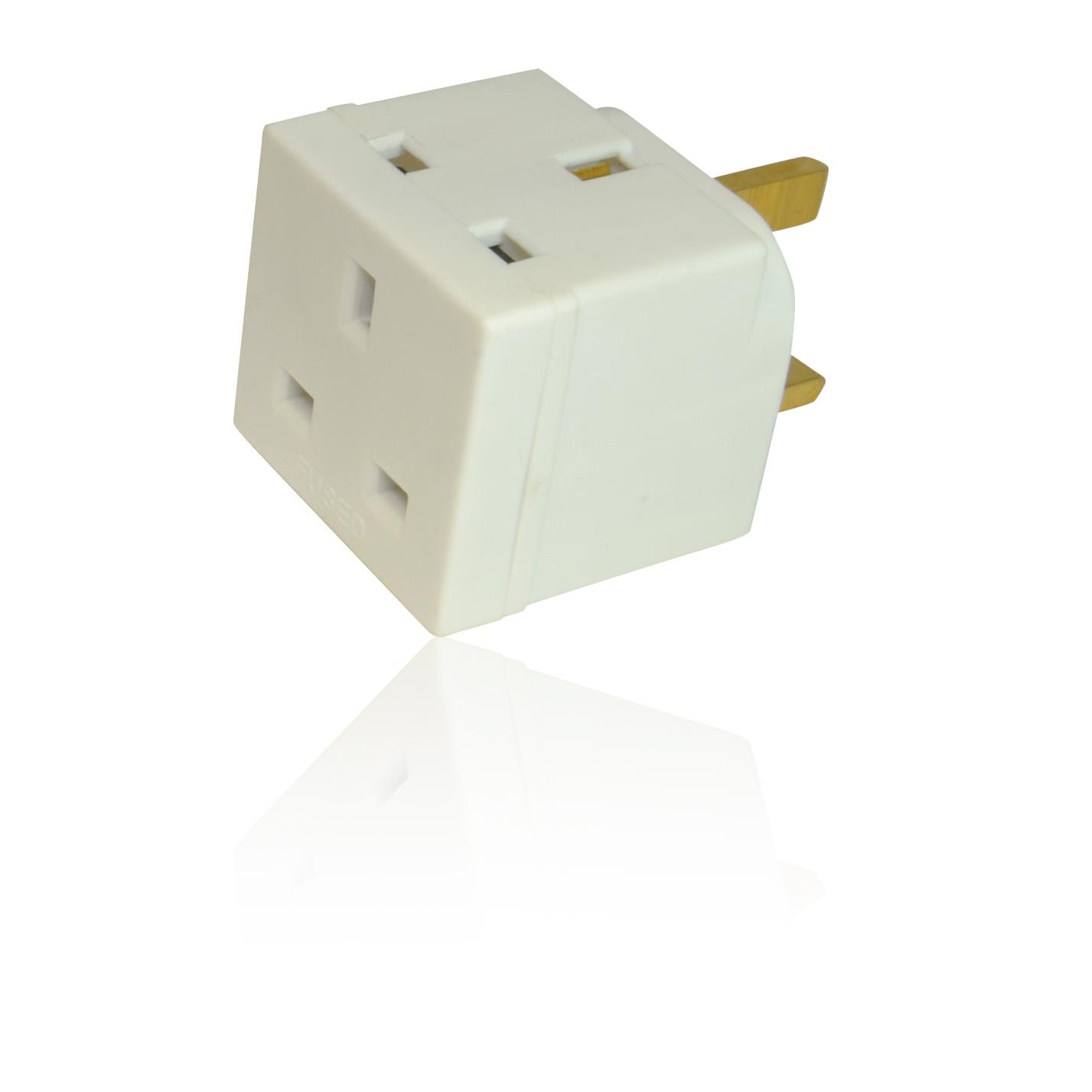 2 way double uk mains 3 pin 250v adapter plug socket. Black Bedroom Furniture Sets. Home Design Ideas