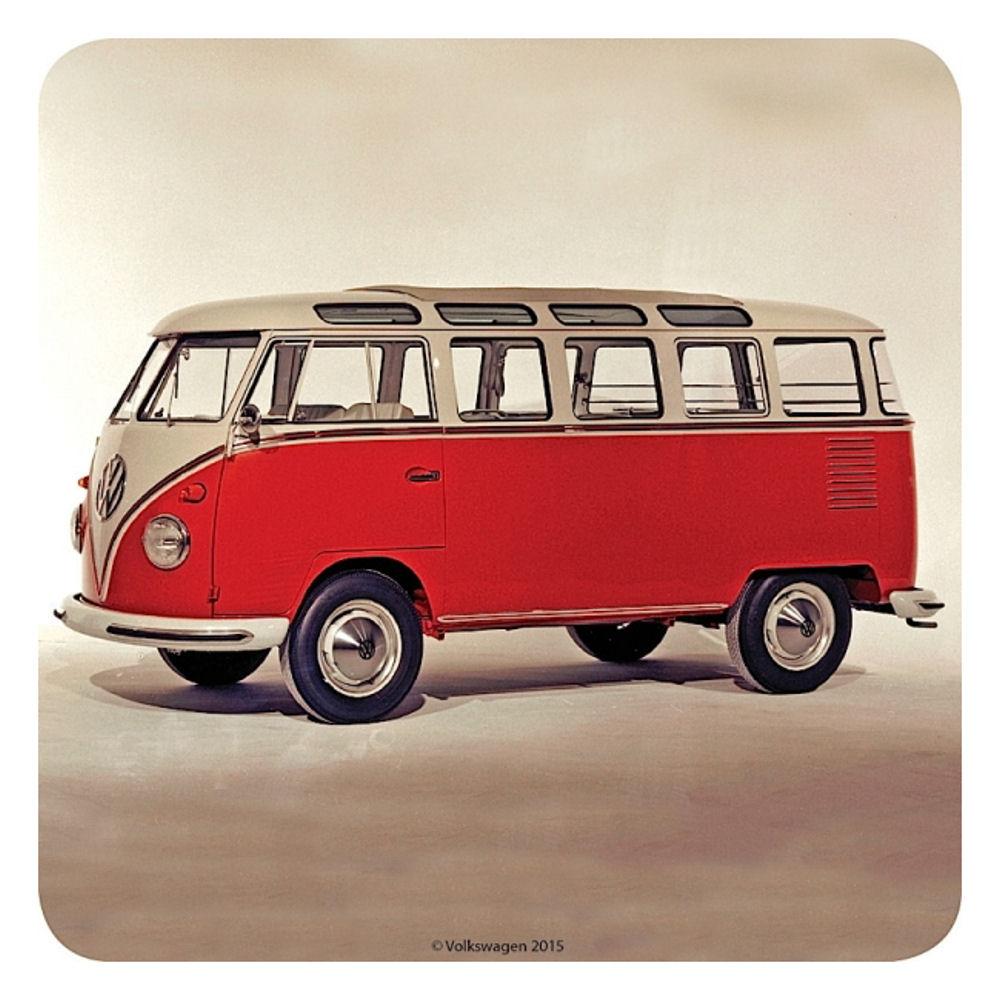 vw original red camper van coaster drinks mat vintage. Black Bedroom Furniture Sets. Home Design Ideas