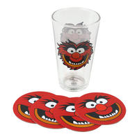 Muppets Animal Glass & 4 Beer Mat Coasters