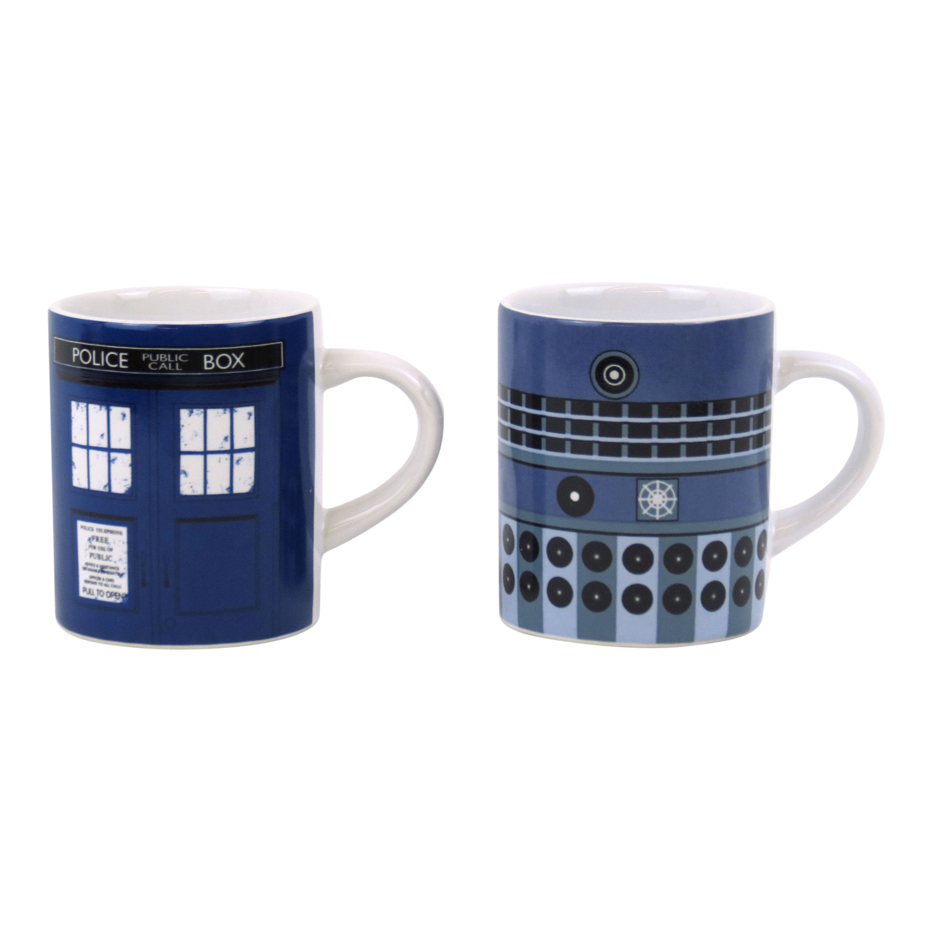 doctor who tardis dalek set de 2 tasses espresso c ramique caf dr capaldi ebay. Black Bedroom Furniture Sets. Home Design Ideas