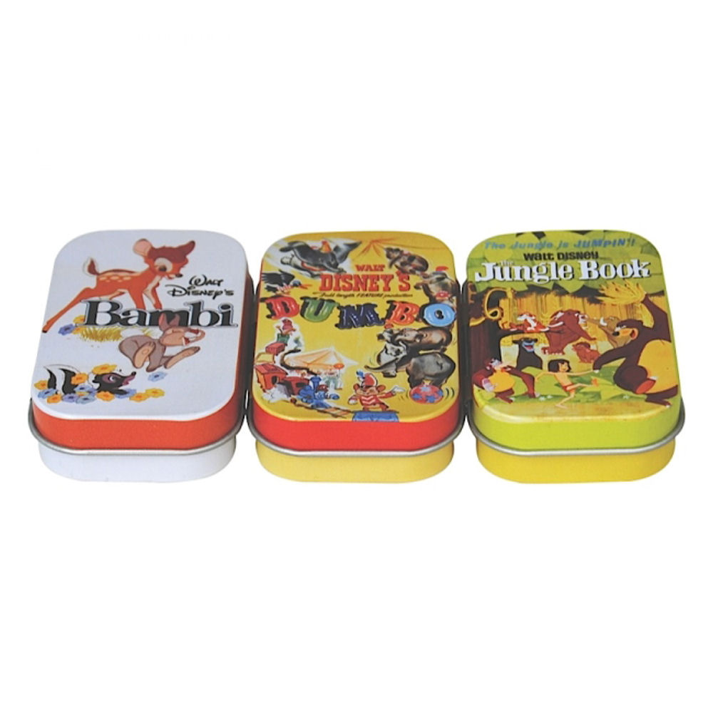 SET OF 3 DISNEY FILM POSTER PILL TINS BAMBI JUNGLE BOOK