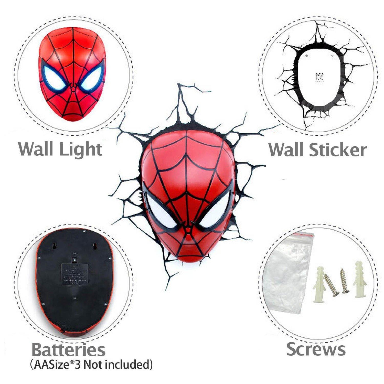 SPIDERMAN HEAD 3D LIGHT FX DECO LED WALL NIGHTLIGHT AVENGERS MARVEL OFFICIAL eBay