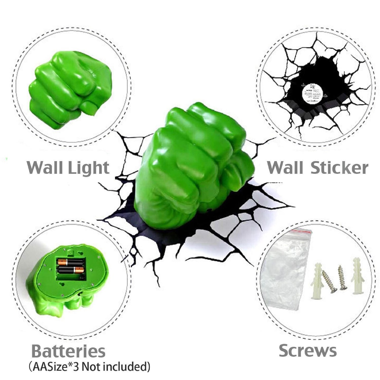 HULK FIST 3D LIGHT FX DECO LED WALL NIGHTLIGHT AVENGERS MARVEL OFFICIAL KIDS eBay