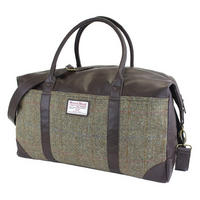 Harris Tweed Green & Brown Overnight Bag