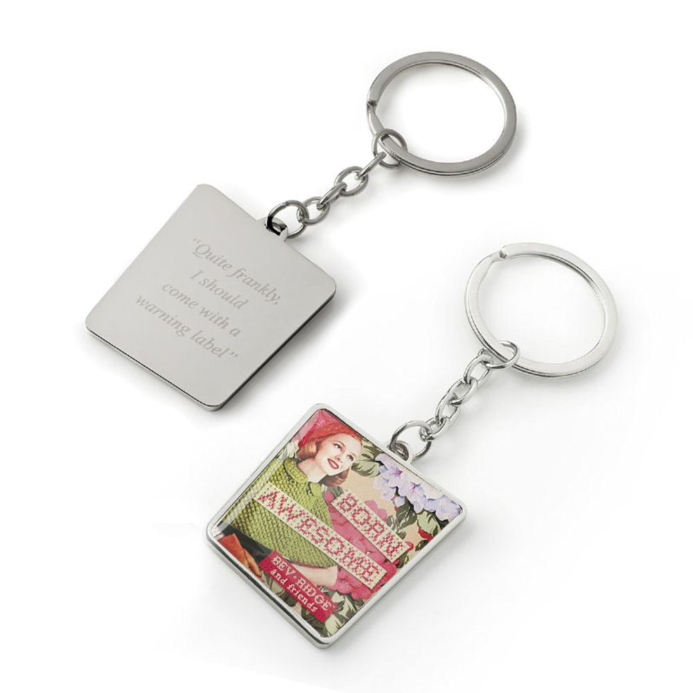 "Bev Ridge & Friends ""Born Awesome"" Metal Keyring"