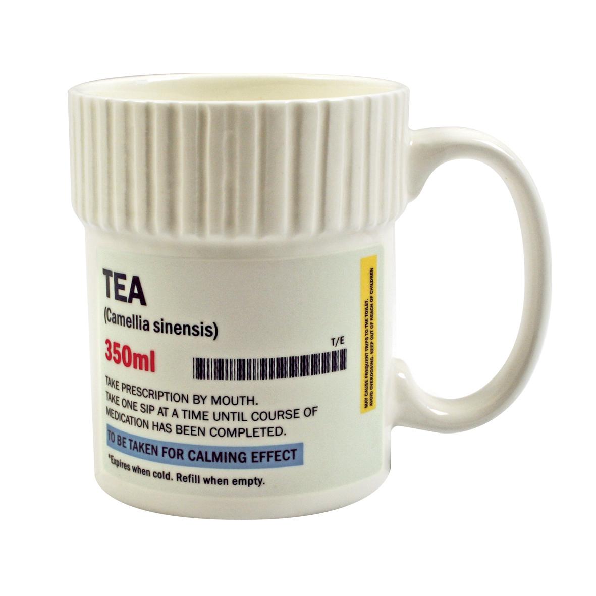 Tea prescription pill pot shaped mug ceramic cup chocolate for Funny shaped coffee mugs