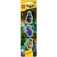 Set of 3 Lego Batman Erasers Featuring Batman, Joker & Robin