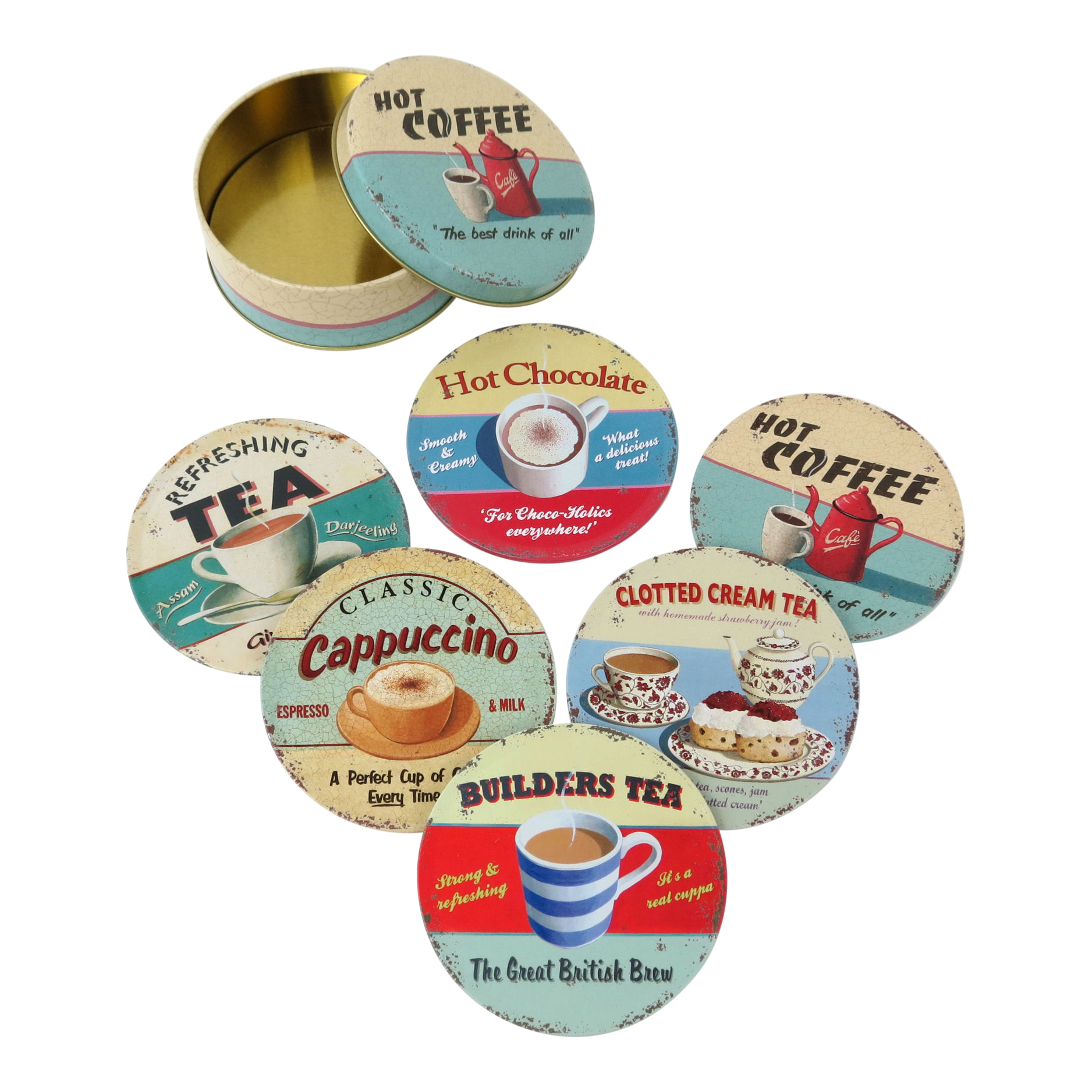 Hot Drinks 6 Coaster Set In A Tin Retro Vintage Martin