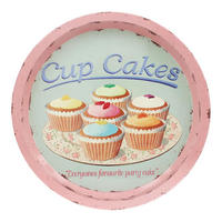 Cup Cakes Round Tin Tray
