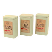 Dad's Army Coffee, Tea, & Sugar Rations Set of 3 Tin Canisters