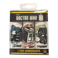 Doctor Who Dalek, Tardis, & Cyberman Colour Pack Of 3 Hankies
