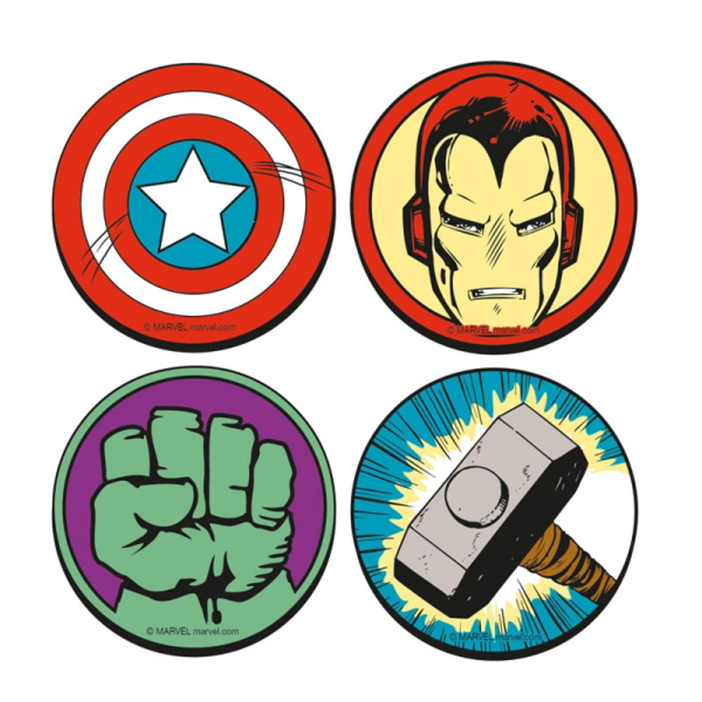 round marvel comics set of 4 coasters drinks mat hulk fist