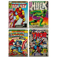 Marvel Comic Covers Set of 4 Rectangular Coasters