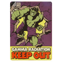 "Hulk ""Gamma Radiation. Keep Out"" A5 Steel Sign"