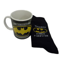 "Batman ""My Hero Since Forever"" Mug & Sock Set"