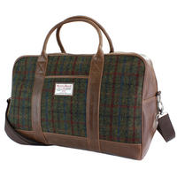 Harris Tweed Green & Red Tartan Overnight Bag