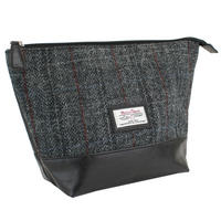 Harris Tweed Black & Grey Tartan Wash Bag