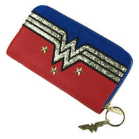 Large Wonder Woman Glitter Logo Zipped Purse