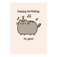 Pusheen Sings Happy Birthday To You Greeting Card