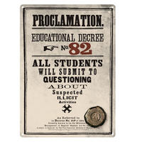 Harry Potter Proclamation Educational Decree No 82 A5 Steel Sign